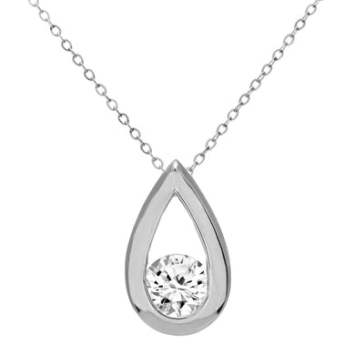 9ct White Gold Half Carat Diamond Tear Drop Pendant and 18