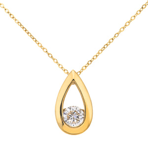 "9ct Yellow Gold Third Carat Diamond Tear Drop Pendant and 18"" Chain"