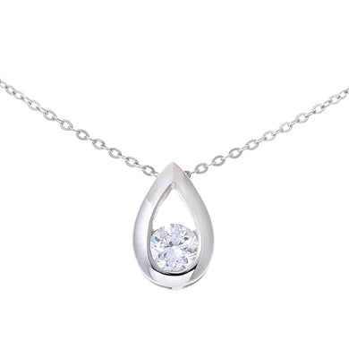 9ct White Gold Cubic Zirconia Tear Drop Pendant and 18 Inch Chain