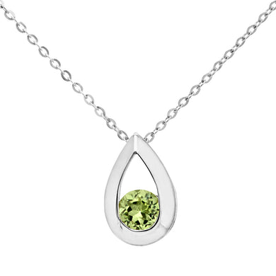 9ct White Gold 0.30ct Peridot Tear Drop Pendant + 18