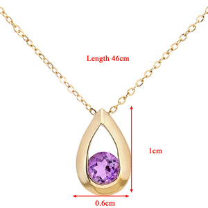 "9ct Yellow Gold 0.20ct Amethyst Tear Drop Pendant + 18"" Chain"
