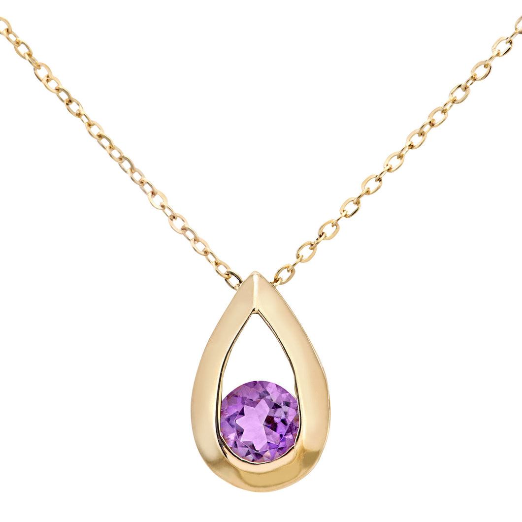 9ct Yellow Gold 0.20ct Amethyst Tear Drop Pendant + 18