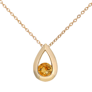 "9ct Yellow Gold 0.20ct Citrine Tear Drop Pendant + 18"" Chain"
