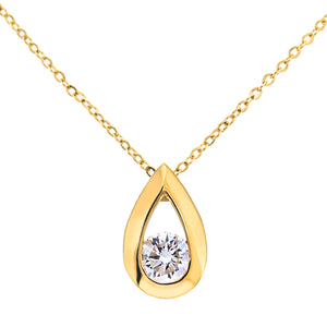 "9ct Yellow Gold Quarter Carat Diamond Tear Drop Pendant and 18"" Chain"