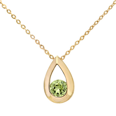 9ct Yellow Gold 0.30ct Peridot Tear Drop Pendant + 18