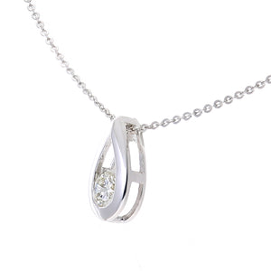 "9ct White Gold 0.15ct Diamond Tear Drop Pendant and 18"" Chain"