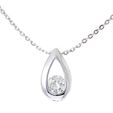 "Load image into Gallery viewer, 9ct White Gold 0.15ct Diamond Tear Drop Pendant and 18"" Chain"