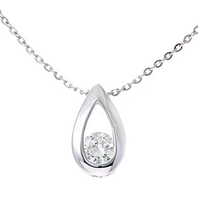 9ct White Gold 0.15ct Diamond Tear Drop Pendant and 18
