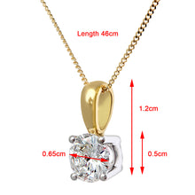 Load image into Gallery viewer, Diamond Solitaire Pendant, 18ct Yellow Gold H/SI Round Brilliant Certified Diamond Pendant, 1.00ct Diamond Weight