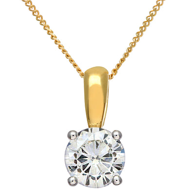 Diamond Solitaire Pendant, 18ct Yellow Gold H/SI Round Brilliant Certified Diamond Pendant, 1.00ct Diamond Weight