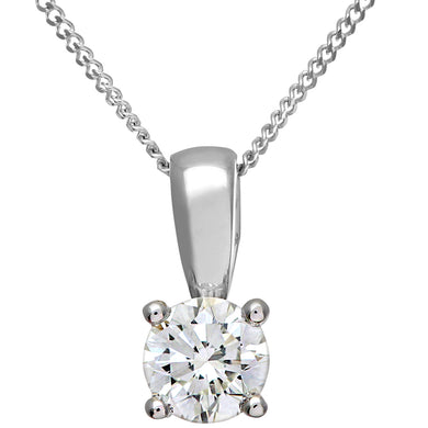 Diamond Solitaire Pendant, 18ct White Gold H/SI Round Brilliant Certified Diamond Pendant, 0.50ct Diamond Weight