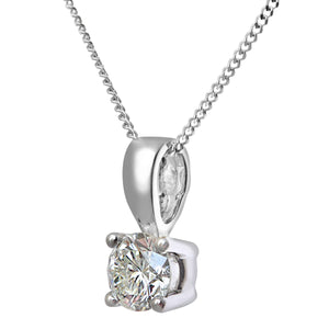 Diamond Solitaire Pendant, 18ct White Gold IJ/I Round Brilliant Certified Diamond Pendant, 0.50ct Diamond Weight