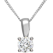 Load image into Gallery viewer, Diamond Solitaire Pendant, 18ct White Gold IJ/I Round Brilliant Certified Diamond Pendant, 0.50ct Diamond Weight