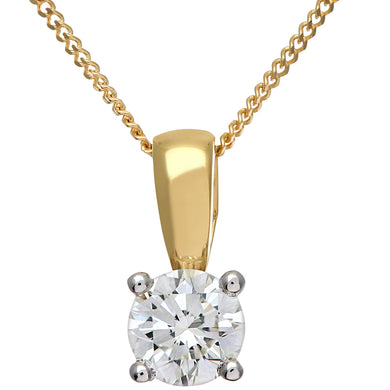 Diamond Solitaire Pendant, 18ct Yellow Gold H/SI Round Brilliant Certified Diamond Pendant, 0.50ct Diamond Weight