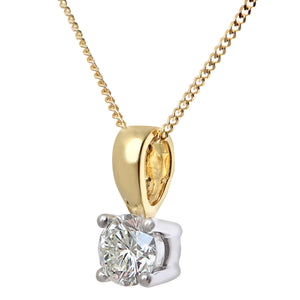 Diamond Solitaire Pendant, 18ct Yellow Gold IJ/I Round Brilliant Certified Diamond Pendant, 0.50ct Diamond Weight