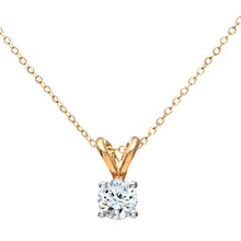 "Load image into Gallery viewer, 9ct Yellow Gold Ladies 25pt Single Stone Diamond Pendant + 18""  Yellow  Gold Trace Chain"