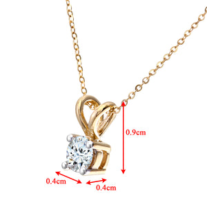 "9ct Yellow Gold Ladies 33pt Single Stone Diamond Pendant + 18""  Yellow  Gold Trace Chain"