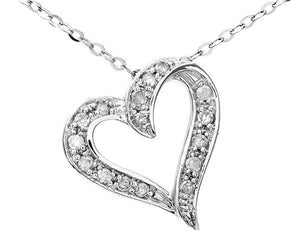 "9ct White Gold Pave Set Diamond Heart Pendant and 18"" Chain"