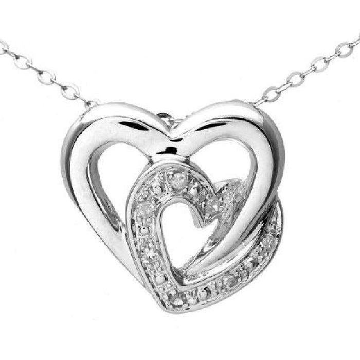 9ct White Gold Pave Set Diamond Double Heart Pendant and 18