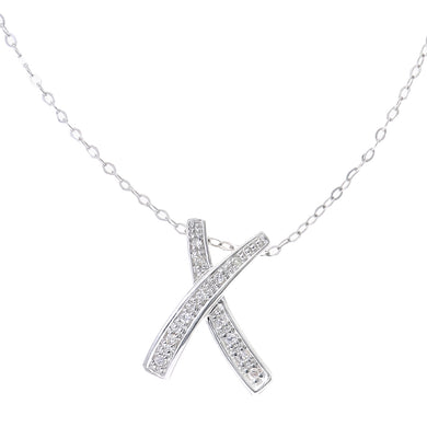 9ct White Gold Pave Set Diamond Kiss Pendant and 18