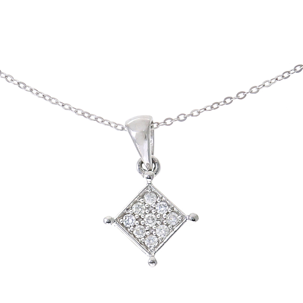 9ct White Gold 0.10ct Diamond Pendant and 18