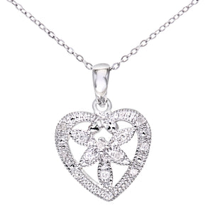 "Ladies 9ct White Gold Diamond Flower Heart Pendant + 18"" Trace Chain"
