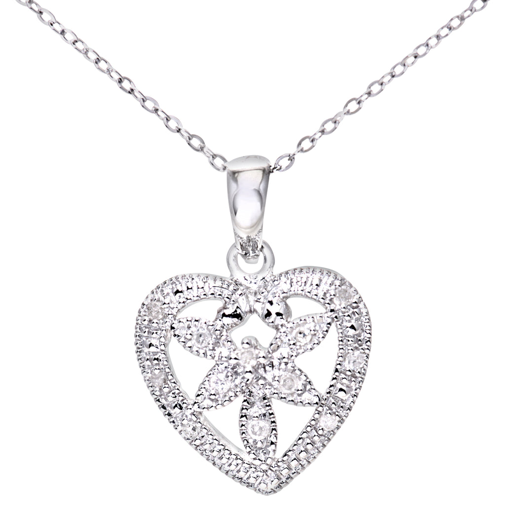 Ladies 9ct White Gold Diamond Flower Heart Pendant + 18