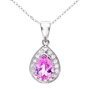 "9ct White Gold Diamond and Pink Sapphire Ladies Pendant and 18"" Chain"