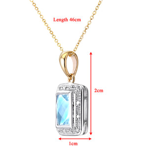 "9ct Yellow Gold Diamond and Blue Topaz Ladies Pendant and 18"" Chain"