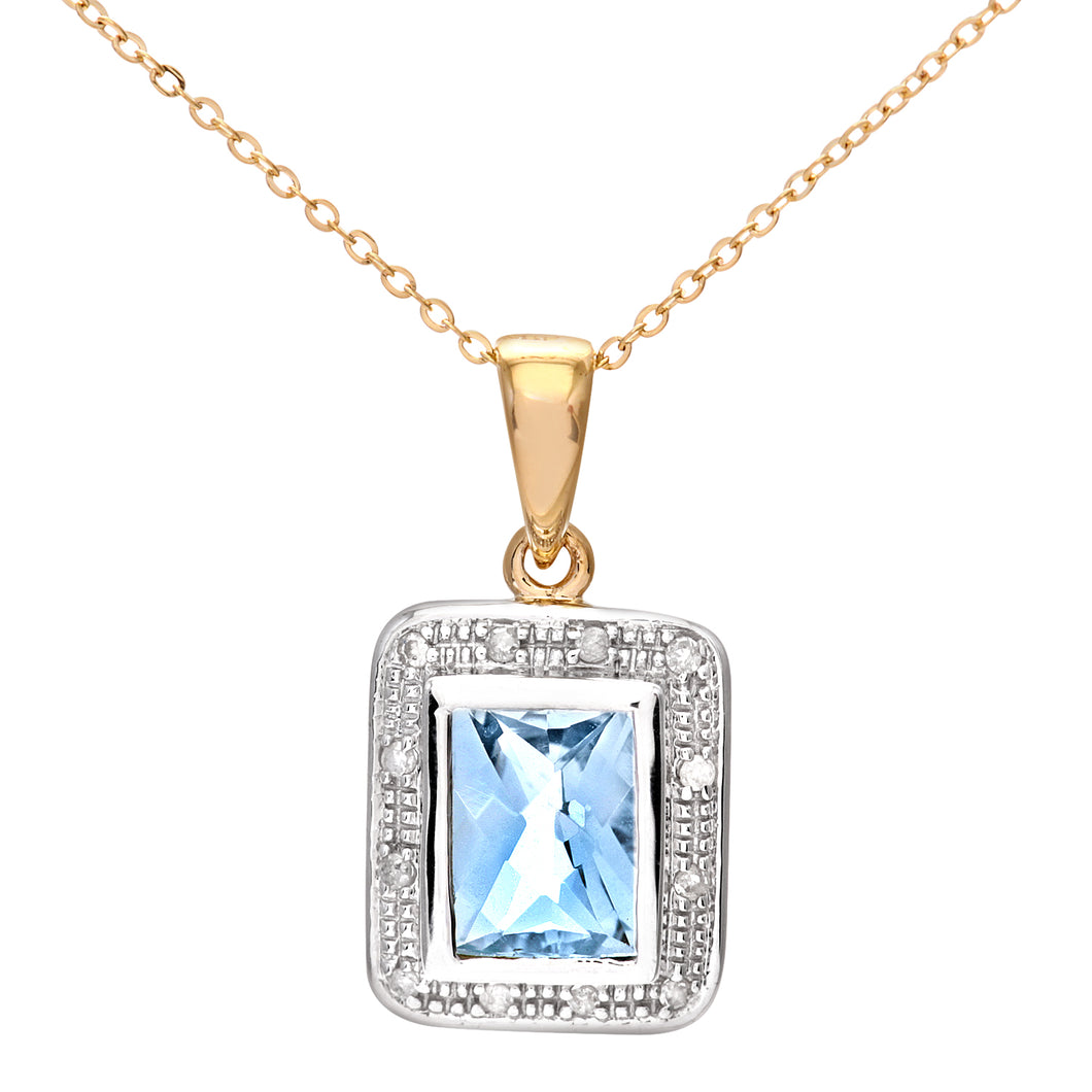 9ct Yellow Gold Diamond and Blue Topaz Ladies Pendant and 18