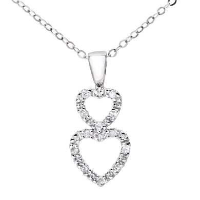Ladies 9ct White Gold  Diamond Double Heart Pendant + 18