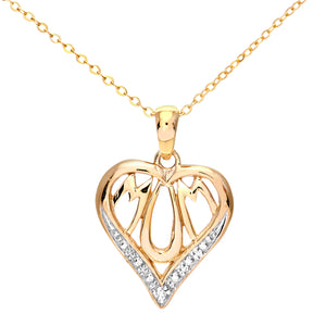 "9ct Yellow Gold Diamond Mum Pendant Heart Shape 18"" Chain"