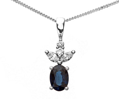 18ct White Gold 0.25ct Diamond and Sapphire Leaf Pendant + 46cm Chain