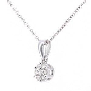 9ct White Gold Diamond Cluster Pendant and Chain of Length 46cm