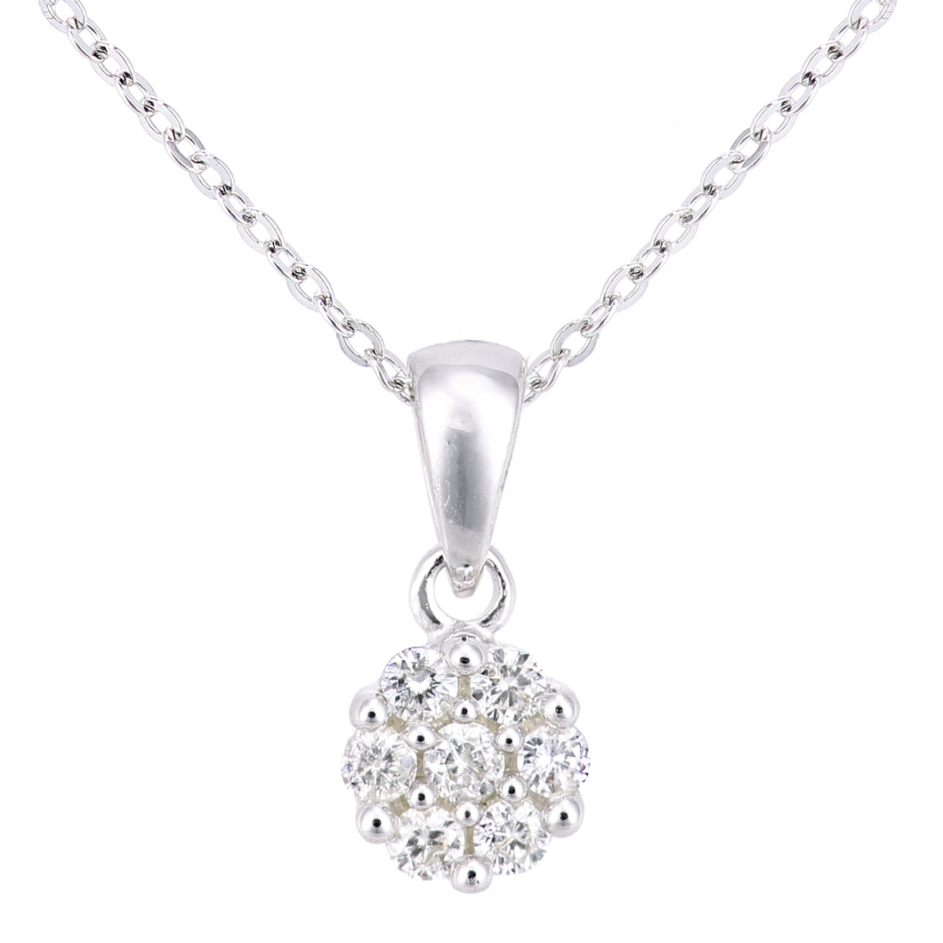9ct White Gold Diamond Cluster Necklace of Length 46cm