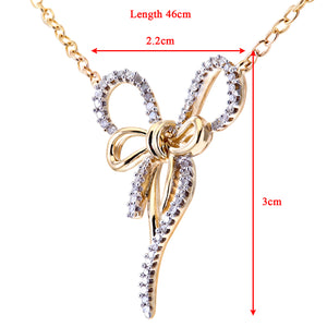 "9ct Yellow and White Gold Pave Set Diamond Bow Pendant and 18"" Chain"