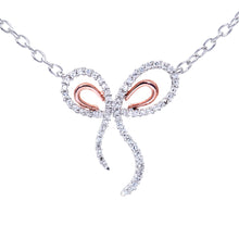 "Load image into Gallery viewer, 9ct Rose and White Gold 0.30ct Diamond Bow Pendant and 18"" Chain"