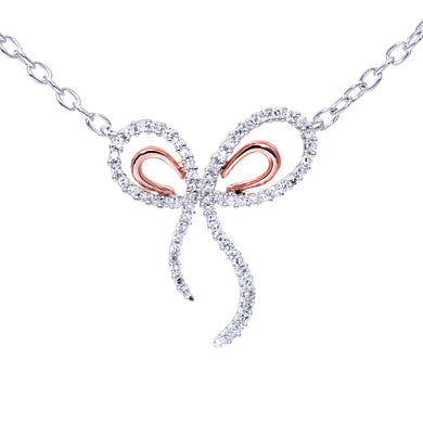 9ct Rose and White Gold 0.30ct Diamond Bow Pendant and 18