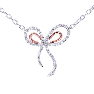 "9ct Rose and White Gold 0.30ct Diamond Bow Pendant and 18"" Chain"
