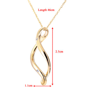 "9ct Yellow Gold Diamond Open Pendant + 18"" Trace Chain"