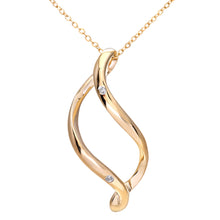 "Load image into Gallery viewer, 9ct Yellow Gold Diamond Open Pendant + 18"" Trace Chain"
