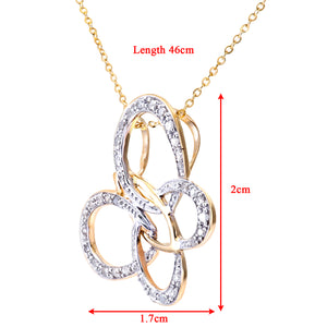 "9ct Yellow Gold Diamond Butterfly Pendant + 18"" Trace Chain"