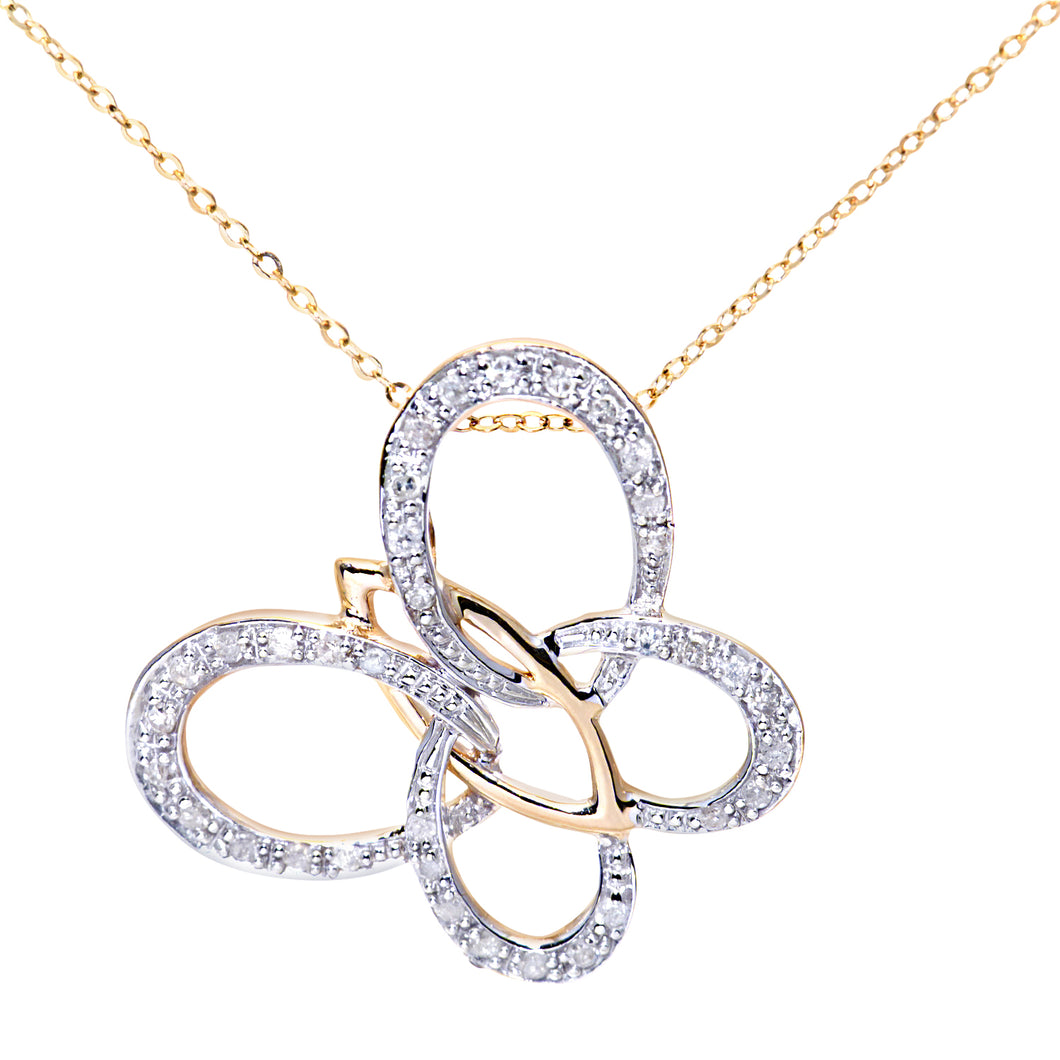9ct Yellow Gold Diamond Butterfly Pendant + 18