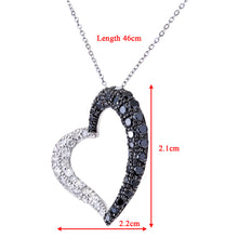 "Load image into Gallery viewer, 9ct White Gold Pave Set 1.00ct Black Diamond Heart Pendant and 18"" Chain"