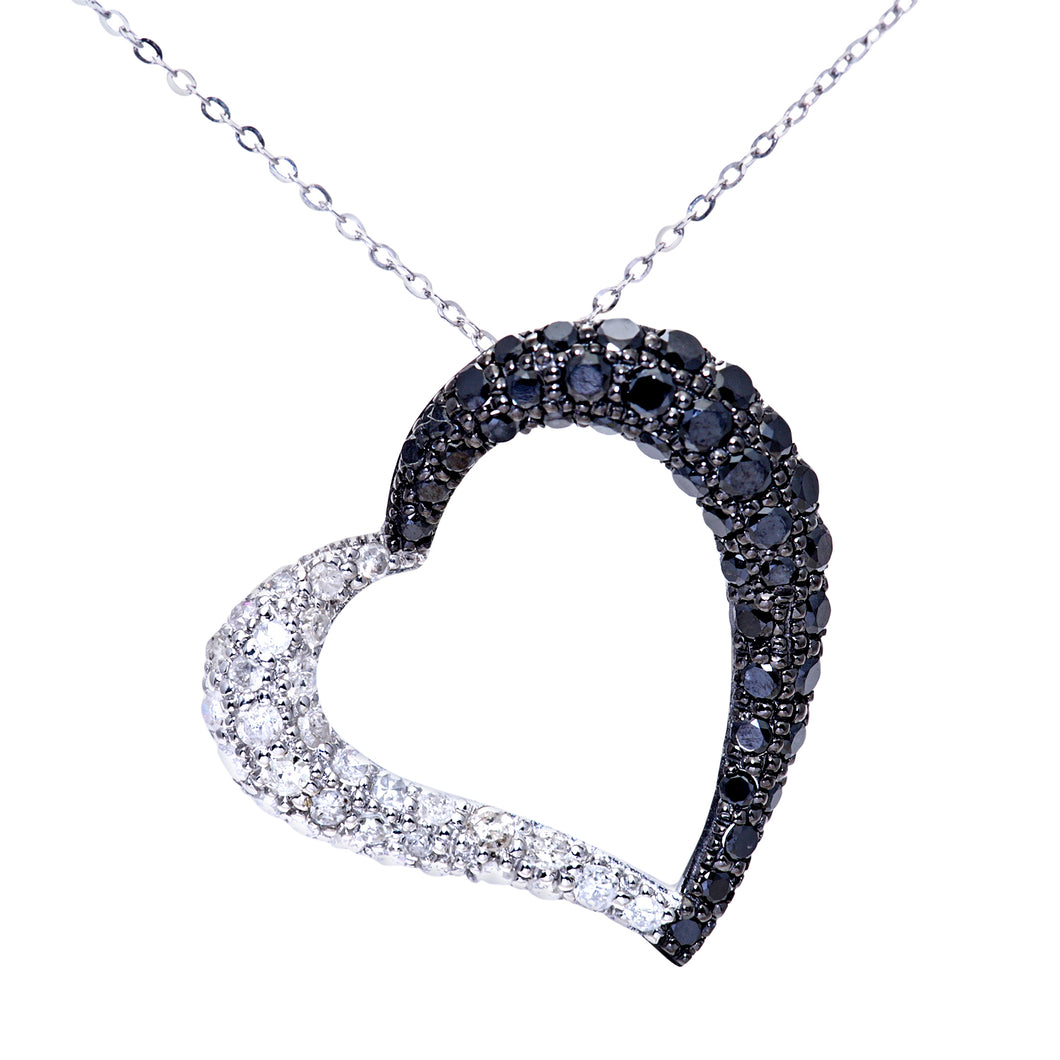 9ct White Gold Pave Set 1.00ct Black Diamond Heart Pendant and 18