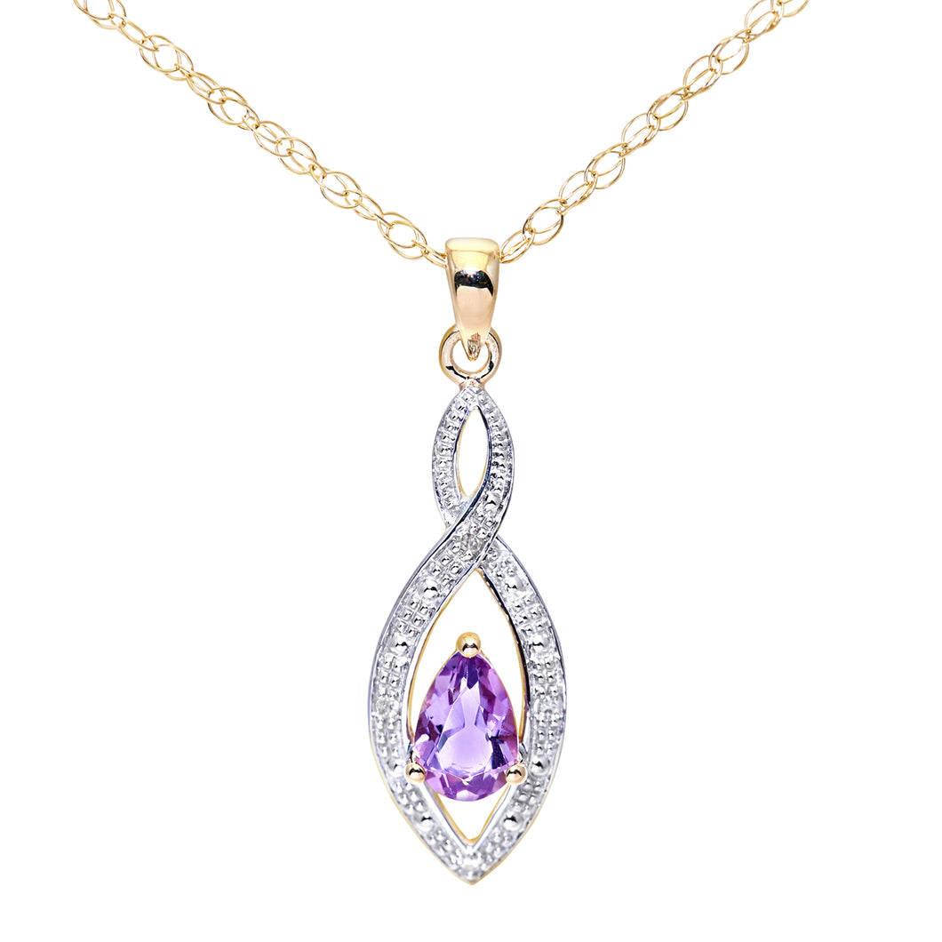 9ct Yellow Gold Diamond and Amethyst Ladies Pendant and 18