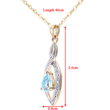 Load image into Gallery viewer, 9ct Yellow Gold Diamond and Blue Topaz Pendant and Chain