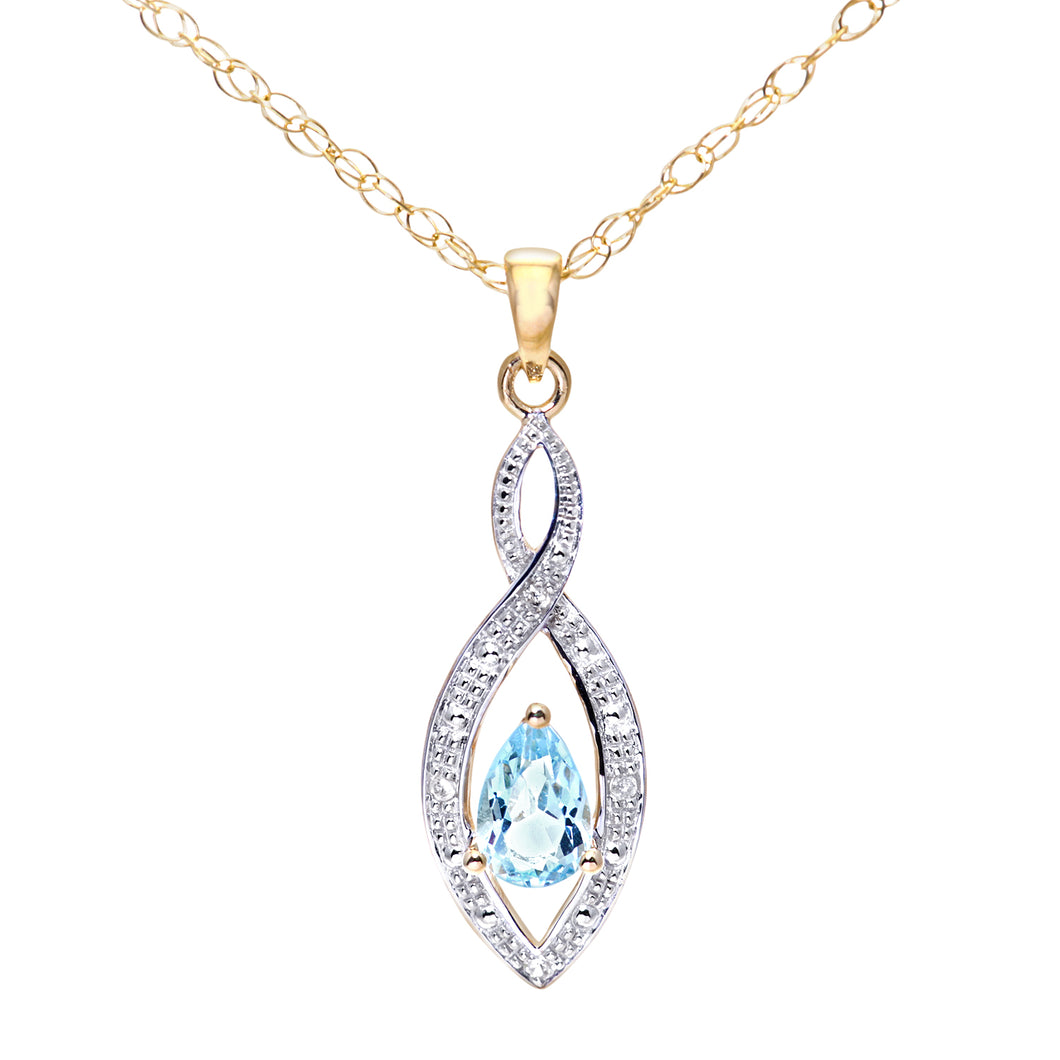 9ct Yellow Gold Diamond and Blue Topaz Pendant and Chain