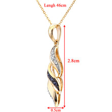 "Load image into Gallery viewer, 9ct Yellow Gold Black Diamond Swirl Pendant and 18"" Chain"