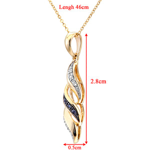 "9ct Yellow Gold Black Diamond Swirl Pendant and 18"" Chain"